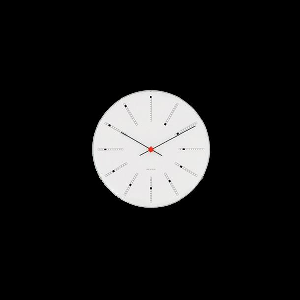 Arne Jacobsen Bankers Vægur Hvid, sort og rød, Ø 21 cm