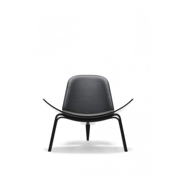 Hans J. Wegner stol CH07 - eg sortlakeret med sort Thor læder