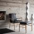Colonial chair - OW149 - Eg sæbe og sort Thor læder
