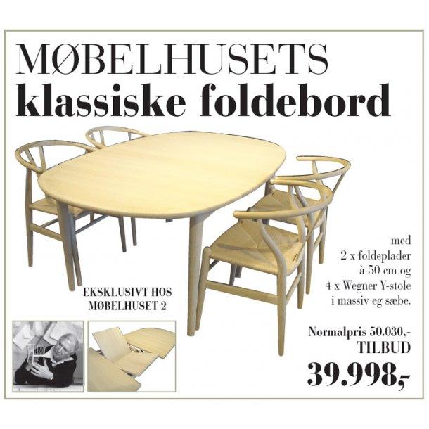 Møbelhusets klassiske spisebord + 4 Wegner y-stole i eg sæbe