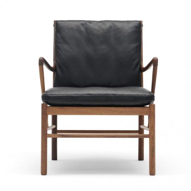 Colonial chair - OW149 - Valnød olie og sort Thor læder