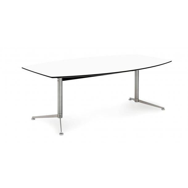 Spinal spisebord boatshape 110 x 240 cm hvid laminat og sort kant