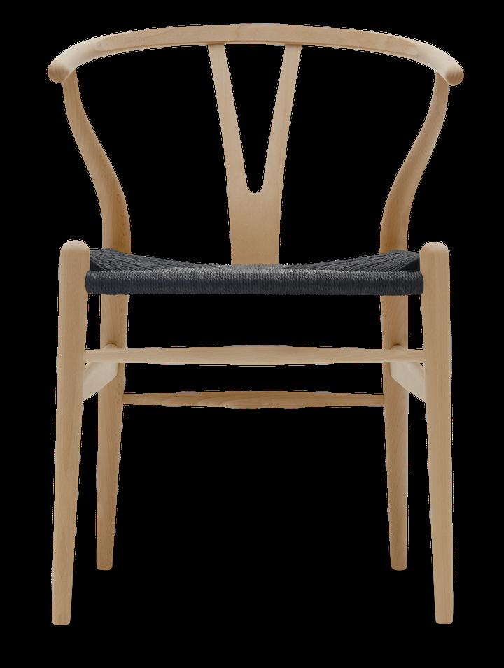 CH24 Y stol | Bøg, Lakeret, Sort flet